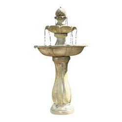 Serenity Health & Home Decor - 2-Tier Arcade Solar On-Demand Fountain - A petite whisper of a fountain with all the water flow you need for soothing afternoons and evenings spent lounging in your garden. Weathered resin gives it an authentic aged look and one or two sunny days keeps its solar-charged battery going for up to four hours.