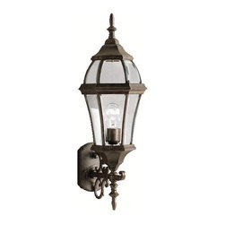 BUILDER - BUILDER Townhouse Traditional Outdoor Wall Sconce X-ZT1979 - From the Townhouse Collection, this Kichler Lighting outdoor wall sconce features a traditional lantern shape that has been elongated for an elegant look and feel. The Tannery Bronze finish is paired with clear beveled glass panels for a modern but tasteful look. U.L. listed.
