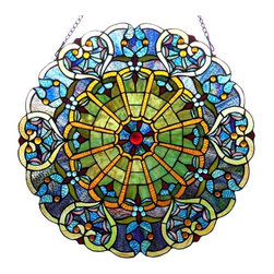 """Chloe Lighting - LOVETTE Tiffany-style Victorian Glass Window Panel 23"""" - LOVETTE, Tiffany-style Victorian window panel is hand crafted featuring colorful pure stained glass.  Blossom is designed with intricate cut glasses and rich touches of colors.  This glass pieces are adorned with gems covered in soldered metal frame coated in a vintage patina tone.  This is a wonderful colorful addition to your window.  Only top quality materials used in this masterpiece."""