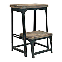 "Crestview - Crestview CVFZR247 Industria Step Stool - Industria Step Stool Metal & Wood Adjustable Decorative Step Stool in Reclaimed Wood/Metal Finish END OF MAY DELIVERY 15.75""W x 15.75""D x 21.75""Ht."