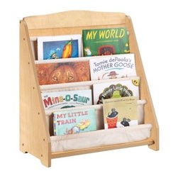 Guidecraft Expressions Natural Book Display - No doubt about it - reading is much more fun when all your little bookworm's books are displayed so perfectly - thank you, Guidecraft Expressions Natural Book Display. They'll love how the four sling-style canvas book pockets can hold up to 20 of their favorite picture books, and you'll love how the natural-finished wood is furniture grade and safety tested for ages two and older.About GuidecraftGuidecraft was founded in 1964 in a small woodshop, producing 10 items. Today, Guidecraft's line includes over 160 educational toys and furnishings. The company's size has changed, but their mission remains the same; stay true to the tradition of smart, beautifully crafted wood products, which allow children's minds and imaginations room to truly wonder and grow.Guidecraft plans to continue far into the future with what they do best, while always giving their loyal customers what they have come to expect: expert quality, excellent service, and an ever-growing collection of creativity-inspiring products for children.
