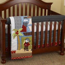 Cotton Tale Designs - Pirates Cove Front Crib Rail Cover Up Set - A quality baby bedding set is essential in making your nursery warm and inviting for your newborn. All Cotton Tale patterns are made using quality materials and are uniquely designed to create your perfect nursery. Pirates Cove Front Crib Rail Cover Up Set is a unique blend of prints and appliqued pirates and includes fitted crib sheet, dust ruffle, coverlet, and front rail cover up. The Pirates Cove front cover up is both function and design, measuring 51 x 15. What a great idea, this front rail cover up protects your foot board on the convertible cribs and it looks great. For the parent choosing not to use a bumper, it can add the needed decor lost when the bumper is removed. This crew of pirates are a fun loving, swashbuckling lot and can be found on the quilt. The sheet is 100% cotton black and white print and the dust ruffle is a black and white stripe trimmed in red polka-dot.