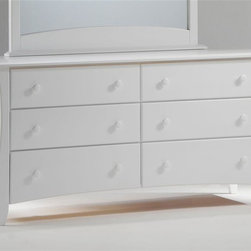 Night & Day Furniture - White Finished Dresser w Six Drawers & Round - Add a light and airy feeling to any bedroom with this white finished dresser. Its reflective surface is crisp, clean and refreshing. Ideal for small spaces, yet its six drawers provide ample storage. Made of solid wood with matching, round drawer pulls. Modern-inspired legs enjoy a curved line. 100% Malaysian Rubberwood construction. Shown in White. Dresser: 33 in. W x 66 in. D x 20 in. H. Mirror: 47 in. W x 49 in. D x 3 in. HOur Clove 6 Drawer Dresser, with optional mirror, is the grand piece of our Clove group. Six big drawers along with the huge dresser-top surface makes it the major utility piece in the group. Add the optional mirror to complete its grandeur. All Spices Bedroom Collection items come with a limited 10 year warranty.
