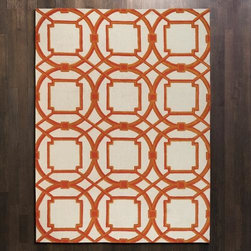 """Global Views - Global Views Arabesque Rug in Coral - """"As Seen In"""" - Better Homes & Gardens Magazine, April 2014Arabesque Rug in coral by Global Views. Available in small, medium, large, or extra large."""