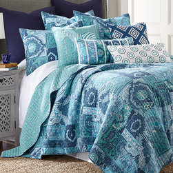 Levtex Home - Blue Aja Quilt Set - Make your bed the centerpiece of the room with this bright and beautiful quilt set. Its bold colors and traditional feel combine for a new style that's a sure bet for comfortable sleep and creative décor.   Includes quilt and two shams 100% cotton Machine wash Imported