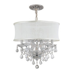 Crystorama - Crystorama Brentwood 2 Tier Chandelier in Chrome - Shown in picture: Polished Chrome Maria Theresa Chandelier Draped in Clear Swarovski Spectra Crystal and accented with a Smooth Antique White Silk Shade.; This isn't your Grandmother's crystal. The Brentwood Collection from Crystorama offers a nice mix of traditional lighting designs with large tailored encompassing shades. Adding either the Harvest Gold or the Antique White shade to these best selling skus opens the door to possibilities for these designer friendly chandeliers. The Brentwood Collection has a touch of design flair that will work for your traditional or transitional home.