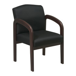 Office Star - Work Smart WD Collection WD388-363 Espresso Finish Wood Visitor Chair - Espresso finish wood visitor chair. Thick padded seat and back with built-in lumbar support. Espresso wood base and arms. Black triangle fabric.