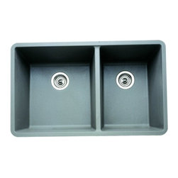 Blanco - 33 in. Undermount Double Bowl Kitchen Sink - Finish: Metallic Gray