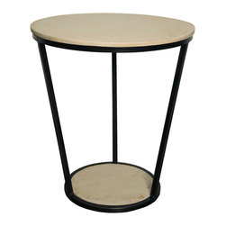 """Noir - Bianca Large Side Table - The large Biana side table's sleek silhouette defines refined sophistication. Connecting circular white resin surfaces, a simple metal frame offers minimalist modernity. 23"""" Dia x 26""""H"""