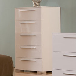 Hokku Designs - Chico High 5 Drawer Chest - Features: -High chest. -Chico collection. -White lacquer finish. -Wood and MDF construction. -Five deep drawers for maximum storage and convenience. -Custom hardware. -Eco friendly. -Manufacturer provides one year warranty.