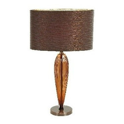 "Benzara - Glass Steel Metal Table Lamps with Brown Shade - Glass Steel Metal Table Lamps with Brown Shade 25""."