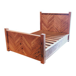 Chevron Platform Bed - This is our Chevron Platform Bed. It is made from Antique Heart Pine reclaimed from the warehouses of the Mt. Vernon Mill, circa 1896, that was located in Tallassee, AL. This bed does not require box springs, only a mattress. Queen Size Bed Price: $1500 plus tax - if interested, please email us at info@evolutiamade.com