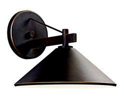 Kichler 1-Light Outdoor Fixture - Olde Bronze Exterior - One Light Outdoor Fixture. Bringing clean lines to a rustic look, the Ripley collection of outdoor lighting features an olde bronze finish that warms the smooth cone shape of this 1 light outdoor sconce. 12 inch width. Height 10 inches. Extension 13 inches. Rises 3. 25 inches above the center of the wall opening. Uses 1 - 40w max or 1 - 60w bulb. Ul listed for wet locations. Dark sky compliant with use of r14 40w bulb.