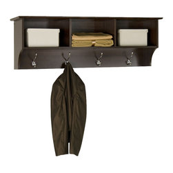 Prepac - Prepac Sonoma Espresso Entryway Cubbie Shelf - Keep your gloves, hats, coats and jackets together where you need them with the entryway cubbie shelf. Perfect for any front hallway, mudroom or home office, it's three compartments have room for everything from mittens to schoolbooks. Four large hooks provide sturdy storage for your outerwear, scarves and tote bags. Install it easily with our innovative hanging rail system and get the versatile entryway piece you've been missing.