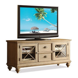Riverside Furniture - Coventry TV Console (Weathered Driftwood and Dover White) - Finish: Weathered Driftwood and Dover White