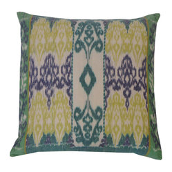 JITI - Java Blue Green Pillow - Create a tranquil atmosphere just by adding decorative pillows. The Eastern-inspired pattern of this feather and down-filled pillow makes a perfect backdrop for meditation and relaxation.
