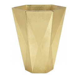 Tom Dixon - Tom Dixon   Gold Gem Large Vase - Design by Tom Dixon, 2014. Tom Dixon's Gold Gem Large Vase is a brass-finished aluminum vase with a distinct angular silhouette referencing forms seen on Medieval and eccelesiastical table tops. Inspired by the facets of cut gemstones, and like a gold ingot, each piece bears the unique imprint of the rough sand in which it is cast. Use singly, or in a grouping of several for a complete table top set.Product Features:  Epoxy lacquer coats the interior ensuring vase is water tight
