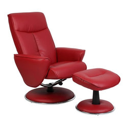 "Mac Motion - Mac Motion Red Bonded Leather Swivel Recliner with Ottoman - Mac Motion Red Bonded Leather Swivel Recliner with Ottoman Sleek is the word that best decribes this unique recliner and ottoman. Covered in a quality bonded leather, this recliner offers 360 degree swivel and adjustable recline. Its accented with a chrome trim. The ottoman is angled for proper leg support. Featured in a bright ""Red"" bonded leather.  Recliner (1), Ottoman (1)"