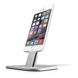 Twelve South - HiRise for iPhone / iPad Mini - HiRise for iPhone & iPad mini is a beautiful, brushed metal stand designed to work with your Apple Lightning Cable (not included) – and virtually any iPhone and iPad mini case. Place HiRise in your workspace to charge while your hands are free during calls and FaceTime chats. Unlike most other docks, HiRise doesn't block your speakers, mic or headphone ports. This vertical pedestal is small and beautiful enough to use anywhere in your home or office. It's the ultimate perch for keeping your iPhone 5 or iPad mini fully charged and ready to go.