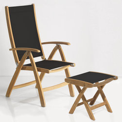 Rivera Teak Sling Reclining Chair and Foot Rest - Lounge in style with the Rivera Chair and Foot Rest, made of natural teak wood and stretch resistant outdoor fabric. Rest your feet and take advantage of the multi-position chair that easily adjusts for maximum comfort. When not in use, this set folds for easy storage.