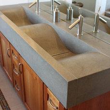 Concrete Wave Sinks in the Bath Room, Bathroom Vanities, Concrete Counter Wave S