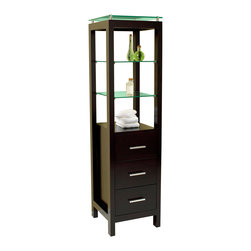 "Fresca - Fresca Espresso Bathroom Linen Side Cabinet w/ 3 Tempered Glass Shelves - Dimensions:  15.75""W x 15.63""D x 60.13""H. Materials:  Solid Wood Frame, MDF Panels. 3 Pull Out Drawers. 3 Tempered Glass Shelves. . . . . This elegant side cabinet comes with an Espresso finish.  It features 3 tempered glass shelves and 3 pull out drawers."