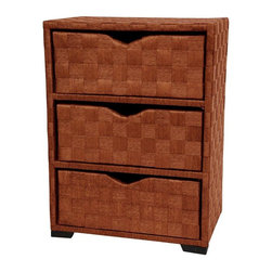 "Oriental Furniture - Natural Fiber Chest of Drawers - Three Drawer - Honey - This simply designed 3 drawer cabinet is a great size and shape for an end table or night stand. Alternately, it's a great accent cabinet for a telephone stand with room for telephone books and pads of paper. There's no limit to the many uses of these beautifully designed, richly colored, inexpensive cabinets. Interior design in the US is becoming an eclectic combination of styles and designs, a statement of one's personal tastes rather than categories like, ""traditional"", ""modern"", ""Scandinavian"" or ""contemporary""."