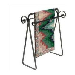 Enclume - Scroll Quilt Rack Hammered Steel - Dimensions: 12-1/2 by 33 by 33 inches.