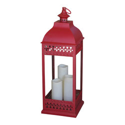 Smart Solar - San Nicola Triple LED Candle Lantern - Red - Battery powered triple pillar LED candle lantern in Antique Red finish that is suitable for both outdoor and indoor use. Durable Poly construction with real glass and metal hanging loop. 3 way switch: On / Off / Timer. Timer for 6 hours on/18 hours off so the lantern lights up at the same time each day. 9.5 in. L x 9.5 in. W x 31.25 in. H. Can be placed on any flat surface, or hung with the integrated metal hanging loop. Candles powered by 3 integrated LED's. Requires 2 in.C in. size alkaline batteries (NOT included)