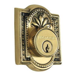 Nostalgic Warehouse - Nostalgic Meadows Double Cylinder Deadbolt Keyed Alike in Antique Brass (733026) - The antique brass Meadows Double Cylinder Deadbolt, with its intricate beaded detailing and botanical flourishes, creates an inspired design theme. Keyed alike. Made of solid (not plated) forged brass for durability and beauty.