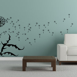 Cherry Walls - Dandelion Wall Decal - Left - Close your eyes and make a wish. This larger-than-life decal is a dream come true with scrolling leaves and two cheerful dandelion buds, complete with floating seeds. Adorn your den, office or bedroom wall with an airy, contemporary design that will transform any room into your happy place.