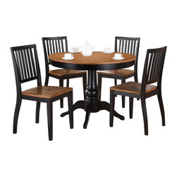 """Steve Silver Furniture - Steve Silver Candice 5-Piece Round Dining Room Set in Oak and Black - The Candice collection offers country-style simplicity, transforming any dining area into a charming sanctuary. The black and oak Candice pedestal table features a beautifully turned base with a 42"""" round top  that will seat four comfort and Bath/Quilts and Coverlets Bed and Bath/Mattress Pads and Covers Bed and"""