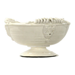 Kathy Kuo Home - Tuscan White Ceramic Large Footed Pedestal Fruit Bowl - A creamy white glaze adds a touch of soft femininity to this classic earthenware vessel.  Generously proportioned to accommodate a collection of fruit, this Tuscan inspired piece would also work beautifully on a French Country table.