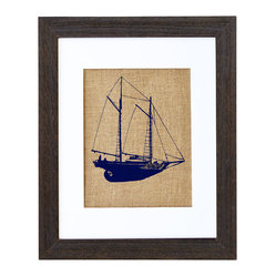 "Fiber and Water - Schooner Sailboat Art - Say ""ahoy!"" artistically with this print, hand-pressed on natural burlap using water-based ink. It's ideal for your beach house or wherever you wish to display your appreciation for the sea."