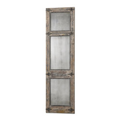 Grace Feyock - Grace Feyock Saragano Traditional Rectangular Mirror X-53831 - Heavily distressed, slate blue frame with aged ivory accents, rust black details, and antiqued mirrors.