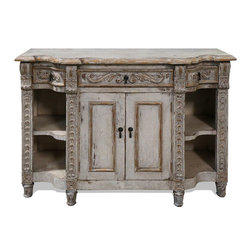 Koenig Collection - Old World Mediterranean Sienna Buffet, Weathered Creams and Greys - Old World Mediterranean Sienna Buffet