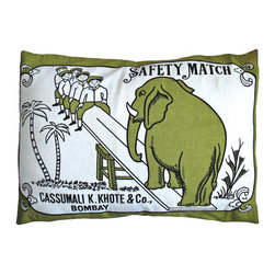 """KOKO - Match Co. Sham, Elephant Swing Print, Olive/Black, 20"""" x 26"""" - This vintage match box ad is great. You can easily infuse a bit of humor into a room with this throw pillow. It's the perfect graphic pop for a couch or side chair."""