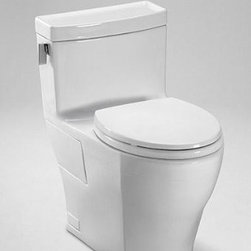 Toto MS624214CEFG#01 Legato One-Piece High-Efficiency Toilet, 1.28GPF, Cotton - Features: Elongated front bowl with SoftClose seat (SS214), Universal Height, SanaGloss ceramic glaze-prevents debris and mold from sticking to ceramic surfaces, leading to fewer chemicals and less water in cleaning, 12-Inch Unifit rough-in, less supply, Chrome plated, brushed nickel or polished nickel trip lever, ADA Compliant, CalGreen compliant
