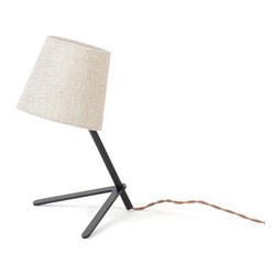 Misewell - Tokyo 1 Small Desk Lamp - Misewell - Tokyo 1 is the petite version of Tokyo 2. The lamp is small in stature, but casts a delightful glow that will warm any room. Fits well on a shelf, desk, or table. 40 Watt max bulb. Fabric shade with black or white powder coated base & neck.