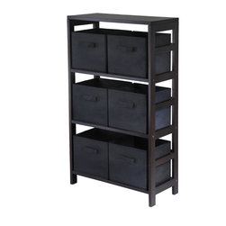Winsomewood - Capri 3-section M Storage Shelf with 6 Foldable Black Fabric Baskets - This storage shelf comes with 6 foldable beige fabric baskets. Espresso finish storage shelf is perfect for any room in your home. Use it alone as book shelf or with baskets for a complete storage function. Assembly required for shelf.
