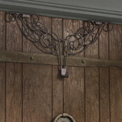 "Grandin Road - Decorative Wreath Hanger - An elegant display and a simple solution. Just slip the slim hooks over any standard door (up to 2-1/4"" thick) and place your wreath on the central hook. Crafted from wrought iron with a burnished-bronze powdercoat finish. Designed for both indoor and outdoor display. Transform your door in an instant—our decorative Wreath Hanger makes adorning your portal a snap. With a burnished-bronze powdercoat finish, it's perfect for any style of wreath, in any season.  .  .  .  ."