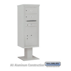 Salsbury Industries - 4C Pedestal Mailbox (Includes 13 Inch High Pedestal and Master Commercial Locks) - 4C Pedestal Mailbox (Includes 13 Inch High Pedestal and Master Commercial Locks) - 12 Door High Unit (59-3/4 Inches) - Single Column - 2 MB2 Doors / 1 PL6 - Gray