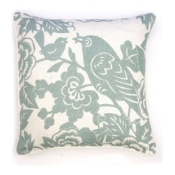 5 Surry Lane - Thomas Paul Blue Love Bird Pillow - Add just a touch of whimsy to your sofa or bedding with this darling throw pillow. Pick between two modern colors to bring a charming pattern to the mix or simply turn it over for a solid color option. It's a stylish piece for mixing and matching throughout your well-appointed home.