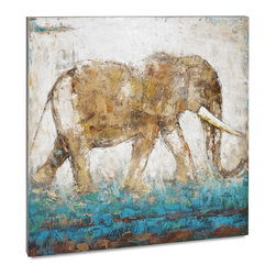 "Vertuu Design - 'Elephant in Motion' Artwork - A neutral color palette with a pop of turquoise makes the ""Elephant in Motion"" Artwork a striking addition to a living or dining room. This hand-painted acrylic canvas features dry brush strokes and scumbling techniques for an intriguing, dynamic effect. Display it above a mantel or bed for a unique focal piece."