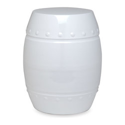 Plow & Hearth - White Drum Stool - Embrace a rustic update to your décor with this handsome outdoor stool that features an eye-catching silhouette and a solid steel construction.   18.5'' H x 15'' diameter Steel Imported