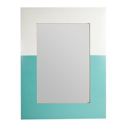 Stray Dog Designs - Stray Dog Designs Richmond Mirror - Yet another sign of our obsession with color-blocking! The Richmond Mirror is White on top and Stray Dog Aqua on the bottom, with a nice band of gold on the inside. Tin, handmade in Mexico.