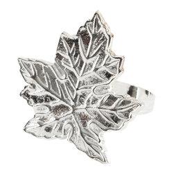 Saro - Maple Leaf Napkin Ring, Silver SET/4 - Maple Leaf Napkin Ring, Silver SET/4
