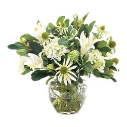 """Silver Nest - Hydrangea Lily Centerpiece- 16""""h - Green and White Hydrangea and Lily Plant Centerpiece in a Tapered Oval Glass Vase"""