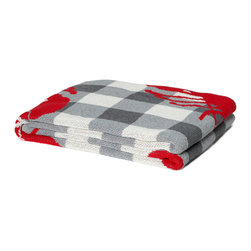 "In 2 Green - Eco Lobster Picnic Throw, Aluminum - Our throws are all knit in the USA with a blend of recycled cotton yarn (74% recycled cotton yarn, 24% acrylic, 2% other), generously sized at 50"" x 60"" and machine wash and dry...how easy is that!"