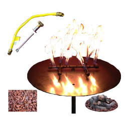 warming trends - Fire Pit Kit 120K BTU - Catching fire! If you have an ounce of DIY in your bones, why not add this great fire pit to your backyard? Everything you need comes with it including logs and lava rock.